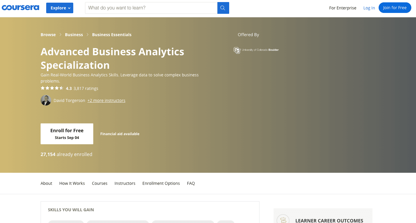 Advanced Business Analytics Specialization