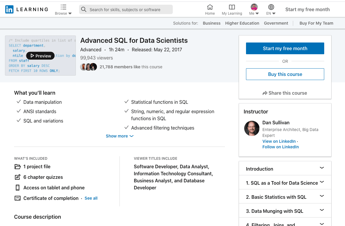Advanced SQL for Data Scientists