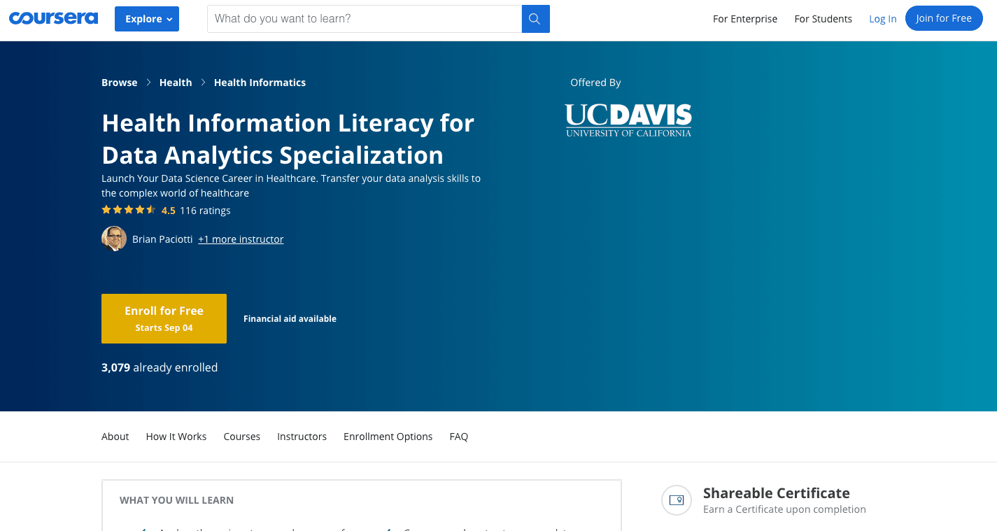 Health Information Literacy for Data Analytics Specialization