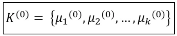 k initial centroids or means