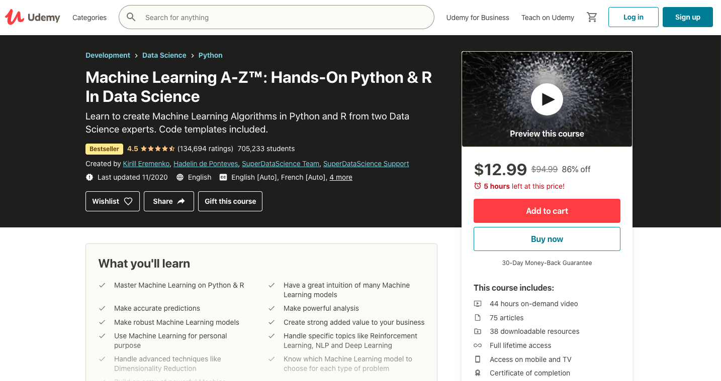 Machine Learning A-Z™: Hands-On Python & R In Data Science