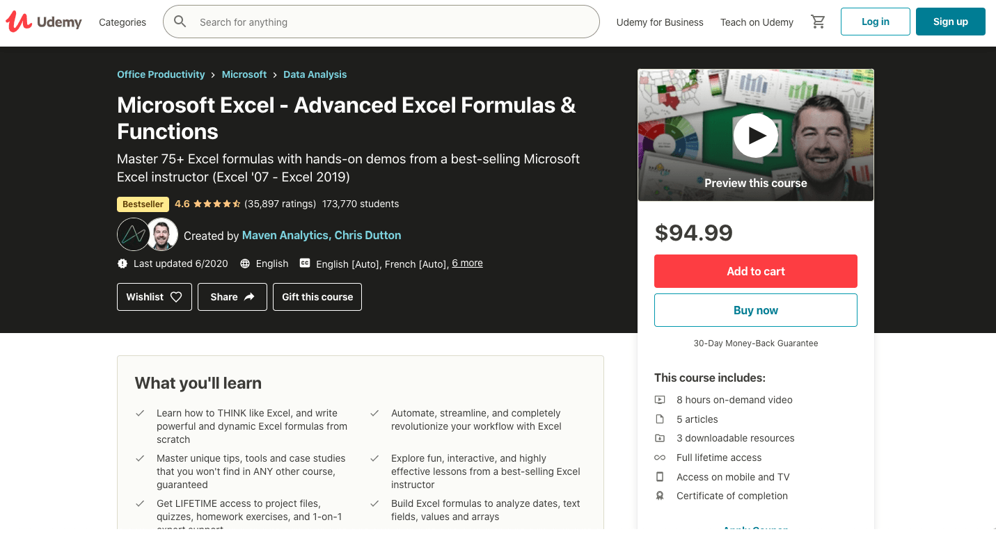 Microsoft Excel - Advanced Excel Formulas & Functions