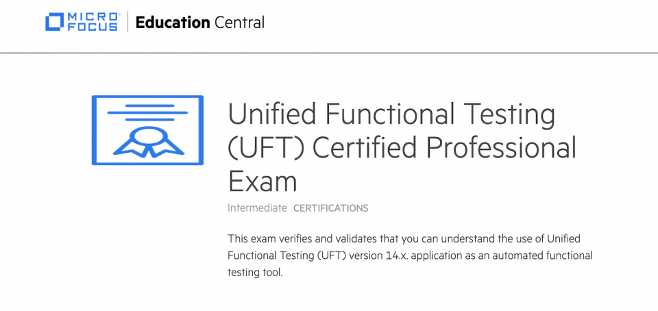 Unified Functional Testing (UFT) Certified Professional Exam
