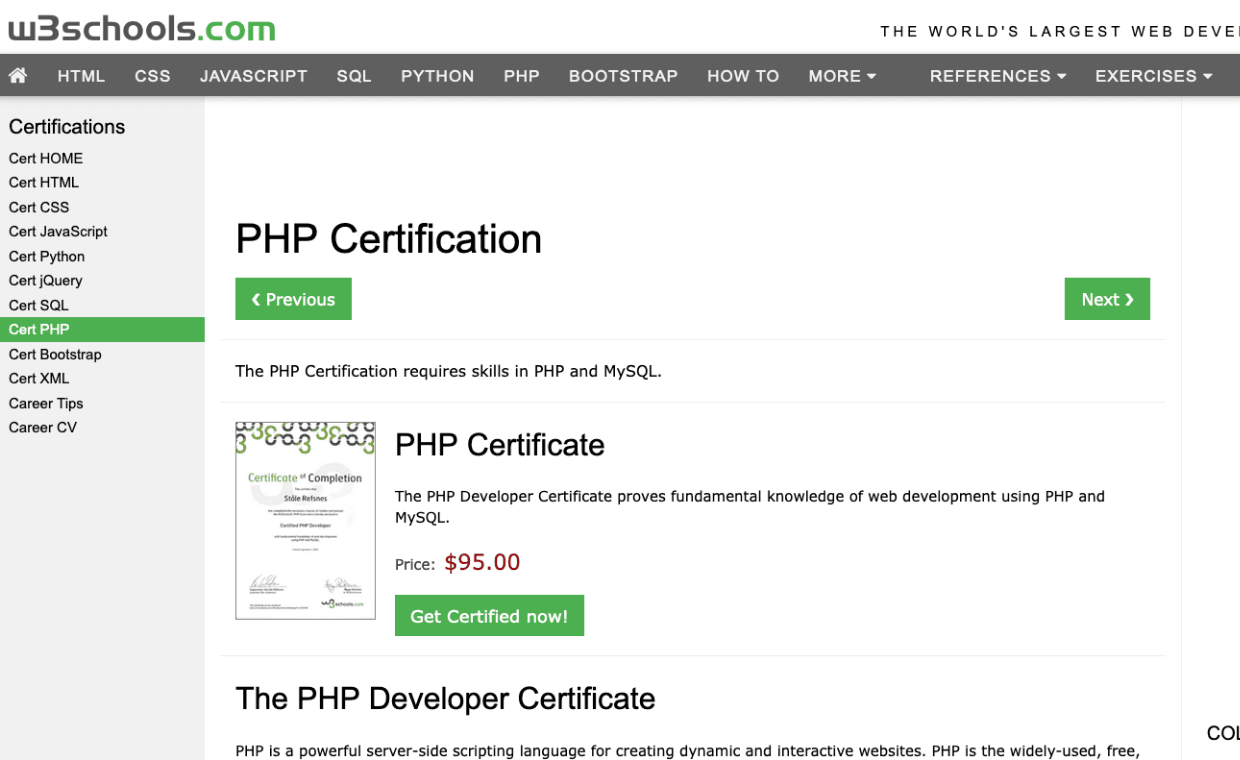 W3schools PHP Certification