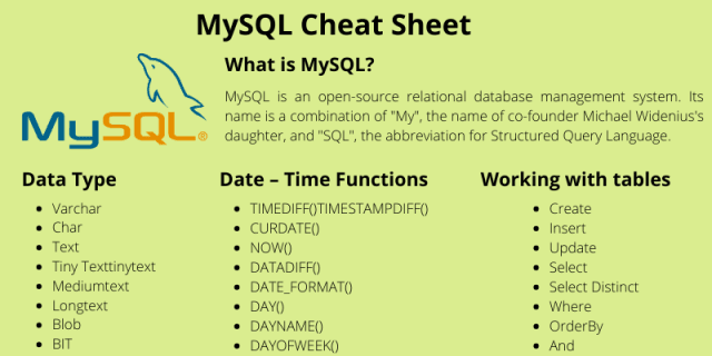 MySQL Cheat Sheet: Download PDF for Quick Reference